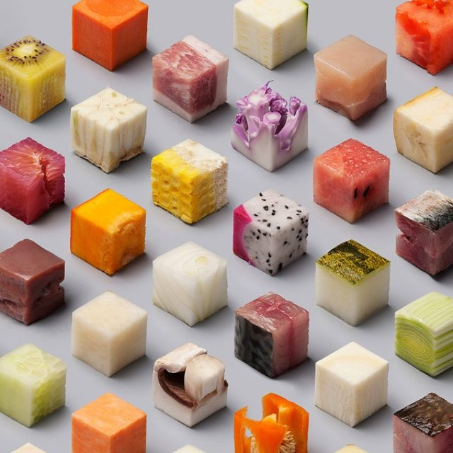 画像: 全部一口サイズ!食材をすべてキューブ状にカットしたアートが面白い