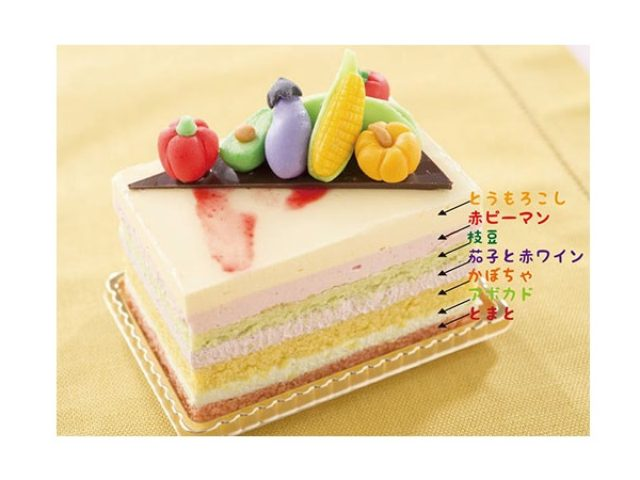 画像: 創業77周年を祝した、7種のピューレ入りで7色の7尽くし「野菜ケーキ」は本物そっくり小さな野菜つき!