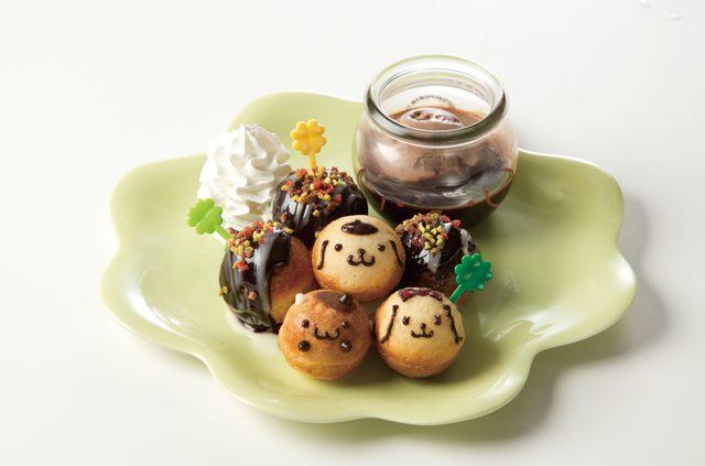 画像: 梅田限定メニュー ポムポムプリンと仲間たちのまるでたこ焼きチョコフォンデュ 780円