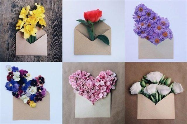 画像: 【Instagram】花を封筒に入れた「#envelope_series」が素敵♪