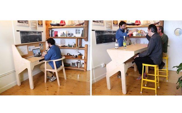 画像: 仕事の後は仲間とお酒を1杯?バーカウンターに変形するデスクが面白い