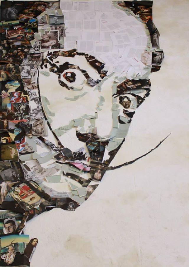 画像: 廃棄された音楽機材で描かれた有名人のポートレート