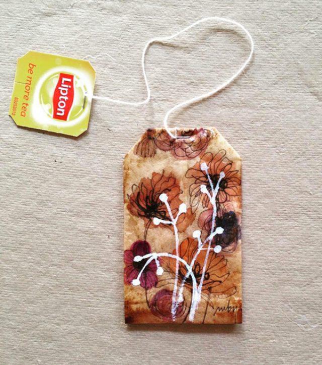 """画像: これは素敵!使用後のティーバッグに描かれた""""アート日記""""がかわいい"""