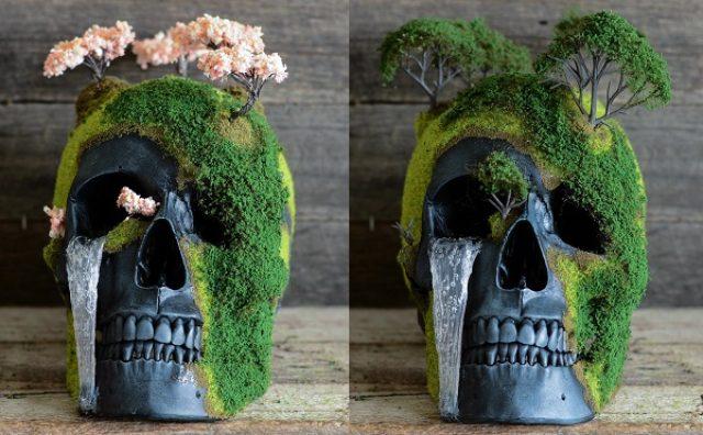 画像: 骸骨に緑が芽吹く!パンクカルチャーと癒しが融合した「盆栽スカル」が面白い