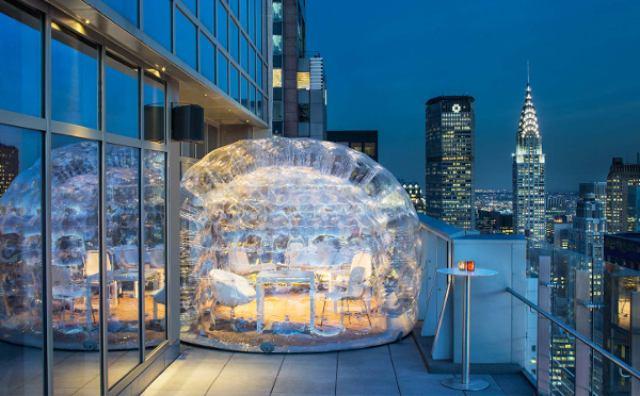 """画像: ニューヨークの夜景を独り占めできちゃう""""バブルテント""""が素敵!"""