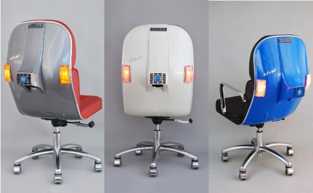画像: ライトも使える!?名スクーター「ベスパ」をアップサイクルした椅子が可愛い♪