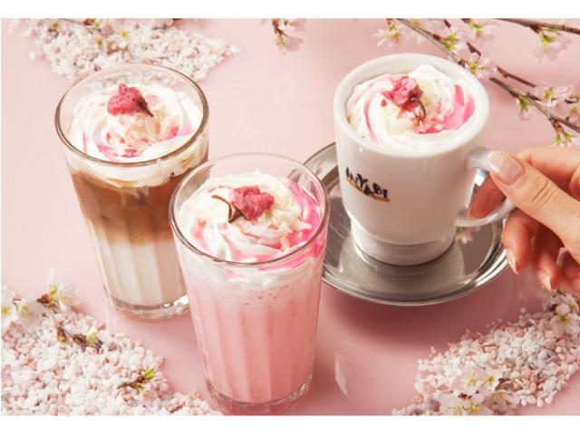 画像: ひんやりとつめた~いドリンク「桜苺フローズン」と春の「桜らて」がMIYABIより登場!