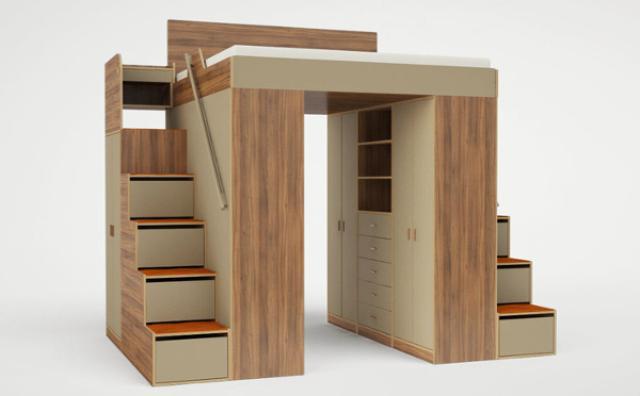 画像: 究極の省スペース!?お部屋の中にお部屋が作れるロフトベッド