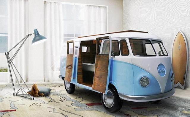 画像: お部屋の中に車が!?テレビや冷蔵庫を完備したワーゲンバス風ベッドが素敵☆