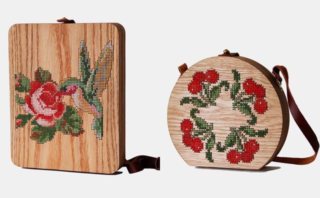 画像: ノスタルジックなのに斬新!クロスステッチをあしらった木製バッグがキュート♡