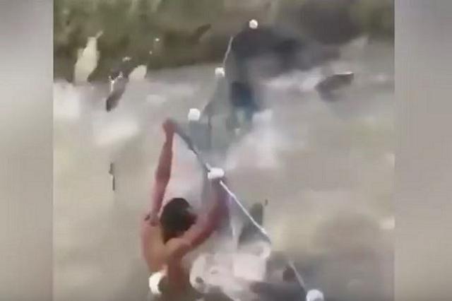 画像1: 突然、信じられないほどの魚の大群が現れた動画が、注目されている。 網を持ち上げ魚を捕らえようとする 撮影場所は特定されていないが、この動画は東南アジアで撮られたと考えられている。 動画にはまず、狭い川に網を張って魚を捕らえようとしている2人の男性が登場。 彼らは川の中に立ち、網を持ち上げて魚が飛び越えるのを阻止していた。 しかしやがて少しずつ魚の数が増えていく。 突然、信じられない数の魚が出現 そして網を越えていく数も増加。 と思ったら次の瞬間、とてつもない数の魚の群れに襲われる。 しかも魚の勢いはさらに増し、画面も真っ白。 ついに男性たちは網を持ち上げることもできなくなってしまう。 その後群れは去っていくが、そばで見ていた女性たち [...] irorio.jp