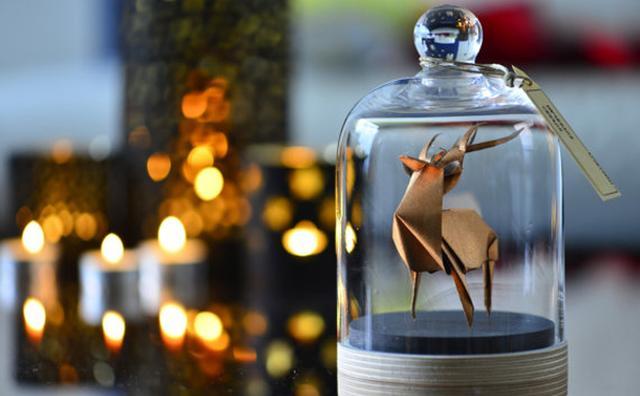 """画像: モダンなオブジェに大変身♪ガラスのジャーに入った""""折り紙""""の動物がステキ"""