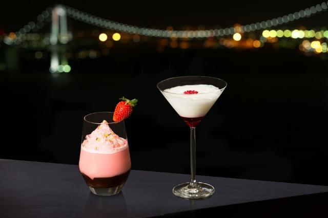 画像: 東京リゾートビューの夜景とともに、バレンタインカクテルで乾杯。