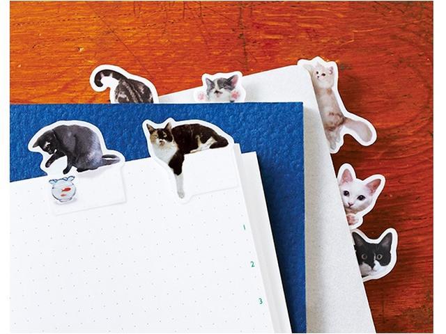 画像: 猫がノートに遊びにきた!?目が合うたび癒される付箋に第2弾