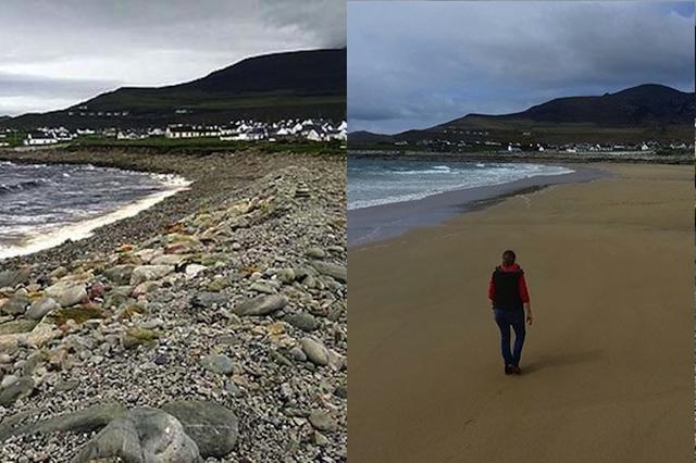 画像1: 33年前の嵐でビーチの砂が流され、岩場になっていた場所に、わずか10日で何千トンもの砂が戻り、300メートルのビーチが復元されてしまった。原因は春の大潮で海面水位が異常に上がったことらしい。 アイルランドのリゾート地で アイルランド・アキル島にあるリゾートタウン・ドーアには、かつてビーチだった300メートルの岩場がある。1984年に島を襲った嵐で砂がすべて洗い流されてしまい、それ以来33年間、海岸の景色は荒涼としていていた。 ところが、先月の10日間で、なくなった何千トンもの砂がすっかり戻り、美しいビーチが復元。町の住人たちは大喜びしている。 わずか10日のうちに アキル島観光協会のショーン・モロイ氏は、海外メディアにこう語っている [...] irorio.jp