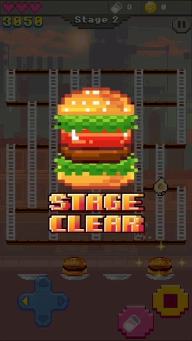 画像: ファミコン風のレトロ感が楽しいラダーアクションゲームアプリ『Super Burger Time』