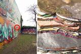 画像1: 30年間に渡り、落書きに落書きを重ねられてきた建物がオランダにある。 それがナイメーヘンという町にあるDoornroosjeだ。 30年も落書きが続くと、壁はどんな状態になるのだろうか。そんなことを確かめてみた投稿が、海外掲示板のimgurで注目を集めている。 まるでカラフルな地層 投稿主のPaulDeGraaf氏は壁の一部がすでにはがれている個所を発見。 はがしてみるとこんな状態になっていた。 はっきりと色が積み重なり、まるでカラフルな地層のようになっている。 ▼バナナと比較 ▼年代ごとに解説した画像。 ただしこちらは投稿主曰く、ジョークらしいので参考程度に見ておいた方がいいだろう。 1日で30万回以上閲覧された 投 [...] irorio.jp