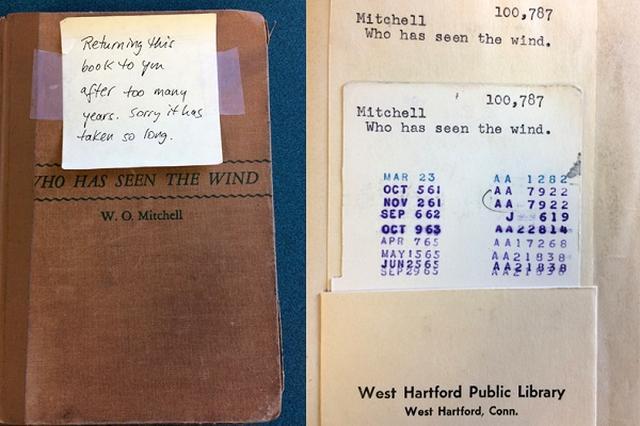 画像1: 世の中には図書館で貸し出された後に、不幸な運命をたどり、2度と返却されない本もある。 そんな本と比べると、6月5日の朝(現地時間)に、米コネチカット州ウエストハートフォードの図書館に返却された本は、あるべきところに返ってきただけまだ幸運なのかもしれない。 ただし、本来の返却期限は1965年9月29日。50年以上も延滞されていた。 返却した人は不明 その本はW.O.ミッチェル作の『Who Has Seen the Wind』。表紙にはテープで「あまりにも長い間借りていましたが返却します。遅くなってごめんなさい」というメモがつけられていた。 誰が最後に借りたのかはわからず、返却ボックスに入っていたため、誰が返しに来たのかもわかっていない [...] irorio.jp