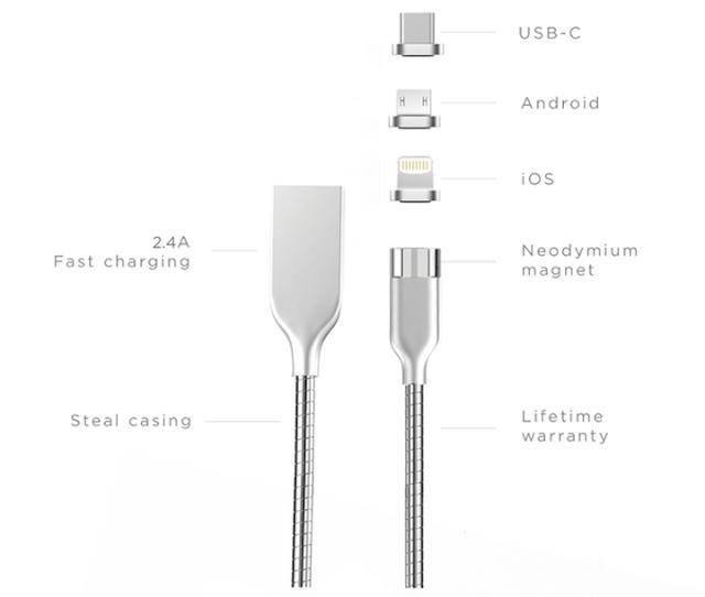画像: これ1本でLightning/MicroUSB/USB Type Cのすべてが充電できる!タフなマグネット充電ケーブル『ANCHOR CABLE』