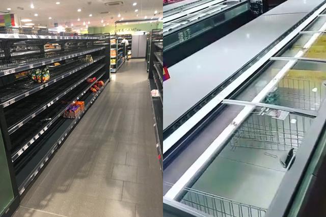画像: ガラガラの商品棚で「人種差別反対」を訴えるスーパー