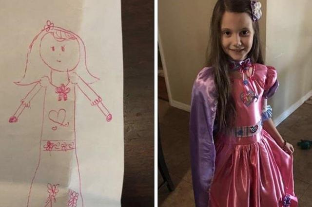 画像: 孫娘が描いた「わたしの夢のドレス」の絵を見たおばあちゃん、本物のドレスに作り上げる