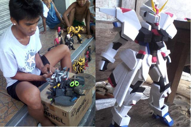 画像: 砂浜に捨てられたサンダルを活用したフィギュアが見事な出来栄え