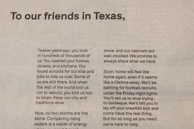 画像: ハリケーンで被災したテキサス州への新聞広告が温かい