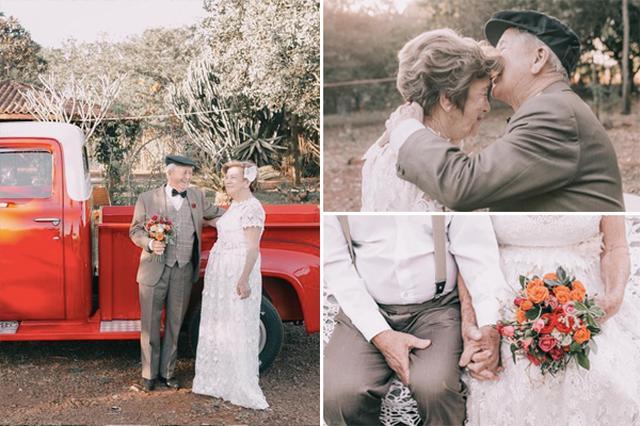 画像: 60年後に撮影された結婚写真。変わらぬ愛が美しい
