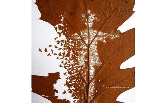 画像: 落ち葉をキャンバスにした繊細過ぎる葉脈アートにうっとり