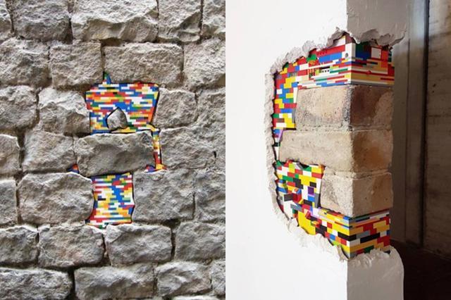 画像: 古くなった壁をレゴで補修!遊び心があふれる街角アート