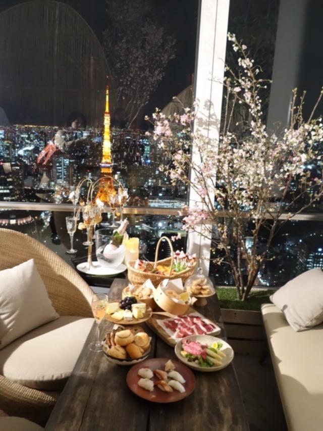 画像: 52階から桜と東京タワーを愛でる@アンダーズ東京 ルーフトップバー