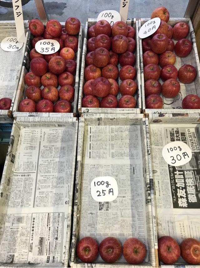 画像: 岩泉町で見てきたもの。 りんごの売り方。 5グラム単位で値段が違う。規格外の廃棄がひとつもない