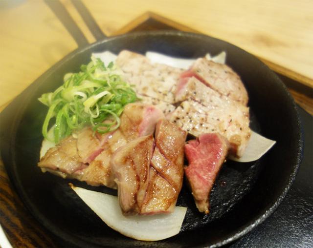 画像: 【福岡】ハーフ&ハーフのレアテキ定食♪@豚ステーキ&牛タンステーキ 十一 六本松店