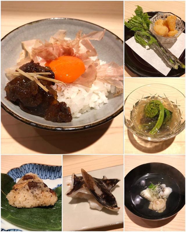 画像1: 5月の『新ばし 星野』、 全てが素晴らしすぎました!!!!!  よもぎのお餅 白味噌仕立て 明石の焼きアナゴちまき 兵庫県のじゅん菜と三陸の鮑 お出汁で炊いた茄子 小柱とコシアブラの天ぷら アマテガレイとコチのお造り 焼きとり貝 虎魚の丸仕立て イサキの蓼酢がけ 全部違うお出汁五種盛り炊き合わせ 山菜煮こごり寄せ ご飯 牛しぐれ煮 じゃこ 白菜漬物  焼きヤングコーン わらび餅  #新ばし星野 #新橋割烹 #京味出身 #具義割烹2019 www.instagram.com