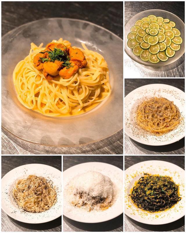 画像: 『マルテ』で、デイリーフレッシュの新デザイナーの奈良岡さんと後藤さんの歓迎会で、パスタ祭り!  「冷やしすだちスパゲッティ」 「冷やしうにのグチュグチュスパゲッティ」 「イカラスミスパゲッティ」 「カチョエ黒七味」 「スパゲッティ辛ボナー...