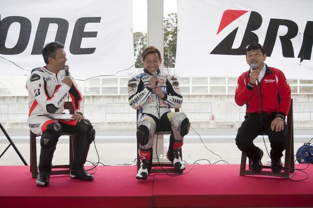 画像: 左は宮城光さん。真ん中が中須賀選手。右が山田宏さん。みなさん、いい笑顔!