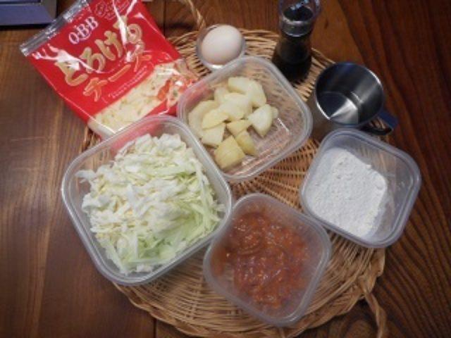 画像1: じゃがいも と イカの塩辛 と チーズ の お好み焼き