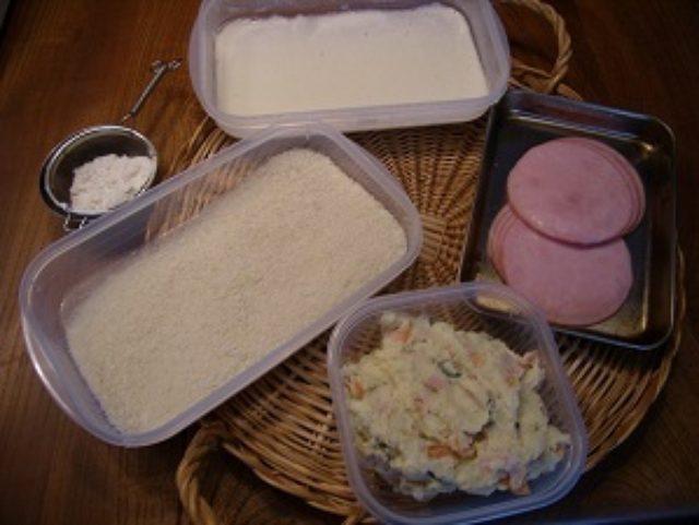 画像1: 昭和の愛すべき2アイテムが合体! ポテサラハムカツ チーズ乗せ
