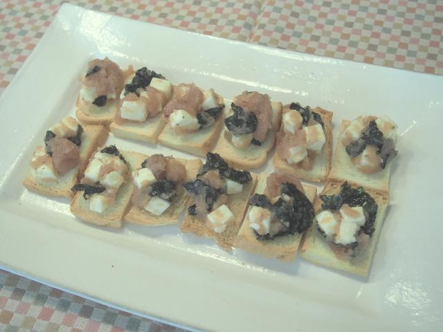 画像5: チーズのたらこ和えのカナッペ