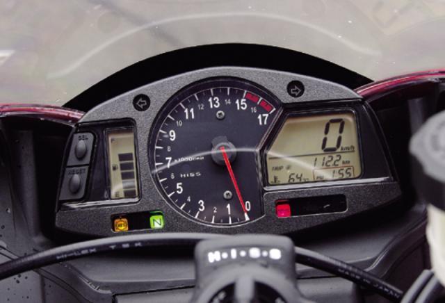 画像: 視認性の高いアナログタコメーターの右に多機能液晶、左に燃料計・水温計を表示する小型液晶を配置。