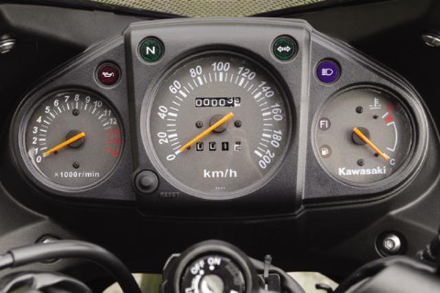 画像: メーターは読み取りやすいアナログ3連タイプ。200km/hスケールの速度計を中心に、左側に回転計、右側は水温計。