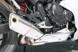 画像: ベースモデル・CB600Fの特徴でもある、右寄せの4-1風マフラーを採用。車体左側にはサブチャンバーも備える。