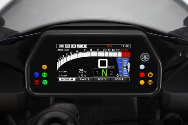 画像: カラー液晶を採用したメーターは「ストリート」「トラック」の2つモードを採用。写真のストリートモードはブレーキの液圧や車体の前後ピッチングなどの情報も表示する。