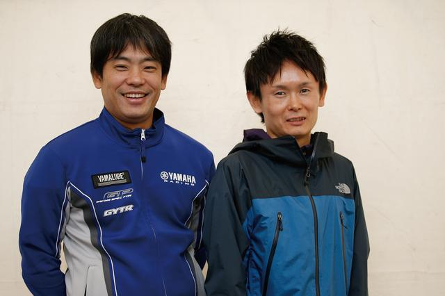 画像: 谷口義則氏(左)株式会社 ワイズギア開発部、尾崎公哉氏(右)KYBモーターサイクルサスペンション株式会社技術部