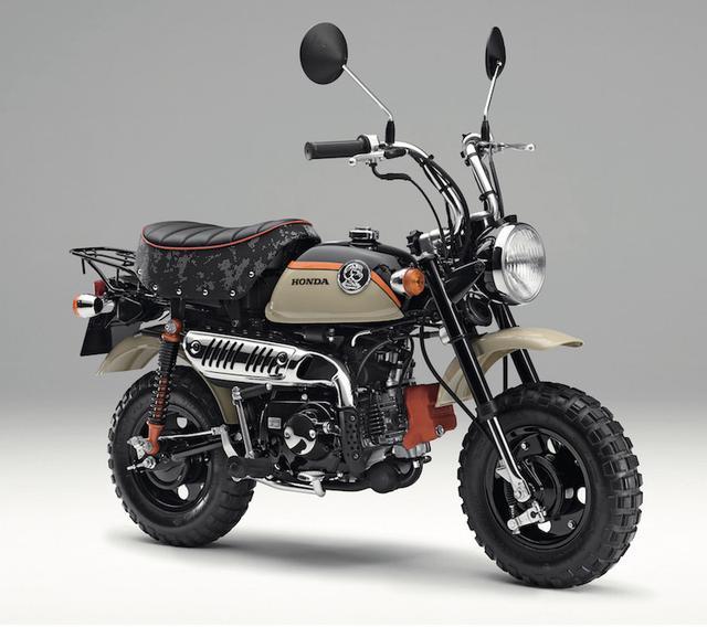 画像: H034 HONDA Monkey ■価格:29万8080円/33万6960円 (くまモンバージョン/ハーベストベージュ) 約四半世紀愛らしいスタイルで愛されてきた元祖レジャーバイク。アドベンチャーをコンセプトに専用パーツも装着した、新色のハーベストベージュを追加。ゆるキャラのくまモンとのコラボモデルもある。