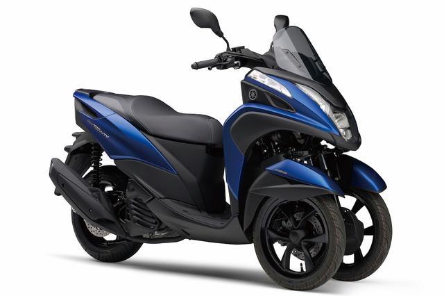 画像: Y044 YAMAHA TRICITY155 ■価格未定 大阪モーターサイクルショーで衝撃的なデビューを果たしたLMW(リーニング・マルチ・ホイール)シリーズの新作。国内導入時期と価格は未発表だが、先頃、ヨーロッパで市販を開始。基本構成は125のトリシティに準じたものとなっている。
