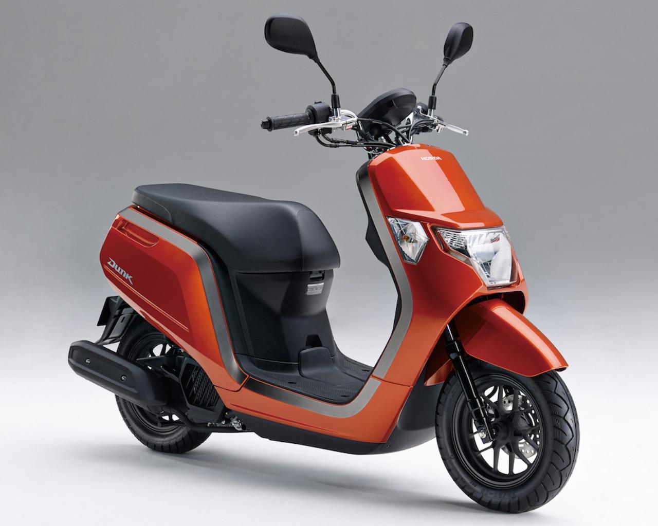 画像: H064 HONDA DUNK ■価格:21万4920円 若者をターゲットにした新世代50ccスクーター。リラックスポジションで乗り心地も快適。充電ソケット付き収納ポケットを標準装備。