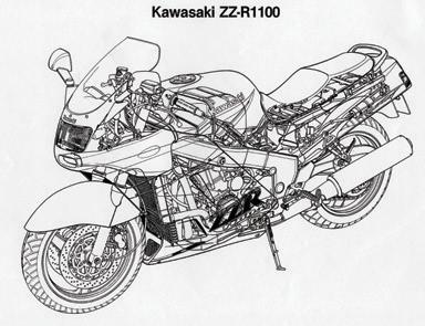 画像: ライダーを含めた空力特性の追求から生まれた、グラマラスな外装に覆われるフレームとエンジンは、当時の1100ccとしてはかなりコンパクト。タンク下のかなりのスペースをエアクリーナーが占めていることもわかる。
