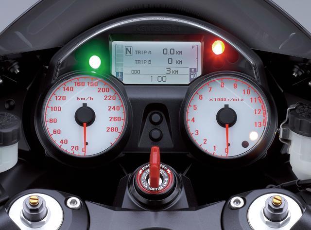 画像: 左にスピード、右にタコを配置したアナログメーターは、視認性に優れるホワイトパネルを採用。中央の液晶ディスプレイにはギア位置、燃料計、オド、ツイントリップ、水温、瞬間燃費、平均燃費、電圧が表示される。