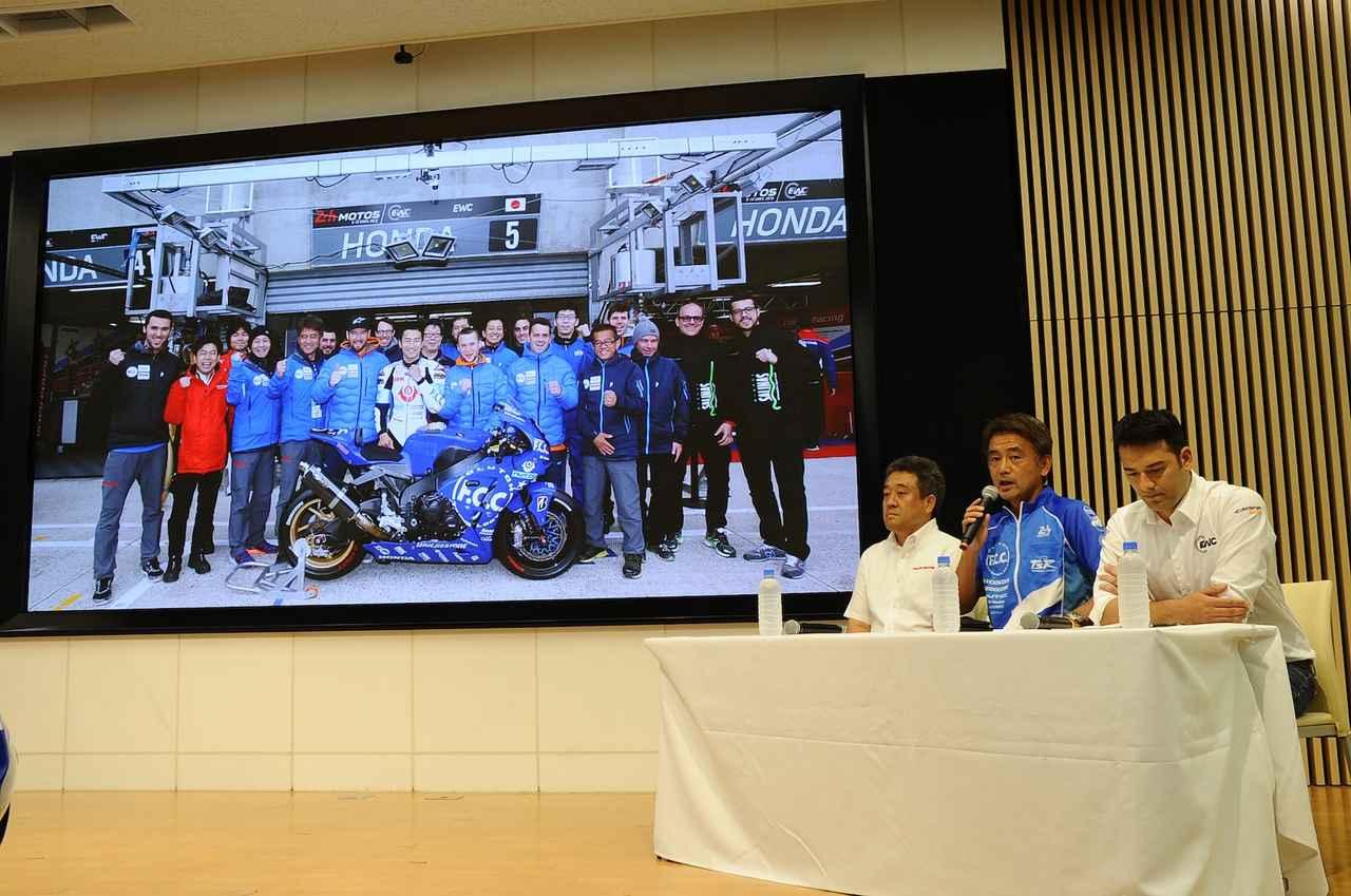 画像: 左がホンダモータースポーツ部の山本部長 うっかり発言、ありがとーございます! 右はユーロスポーツの日本側プレスオフィサー担当者さん